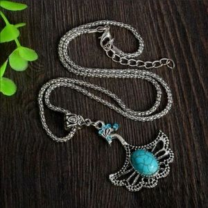 🍃🦋Vintage BOHO Turquoise Blue Peacock Necklace